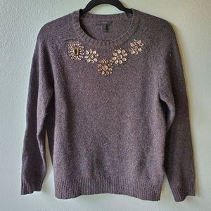 J CREW Size Small Gray Sweater Crystal Beaded
